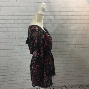 Motherhood Maternity Tops - Black Floral Tie Waist Maternity Blouse